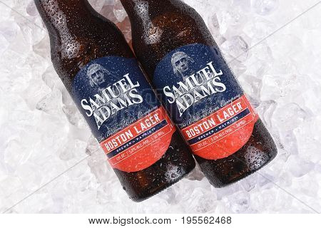 IRVINE CA - JULY 16 2017: Samuel Adams Boston Lager on ice. From the Boston Beer Company. Based on sales in 2016 it is the second largest craft brewery in the U.S.