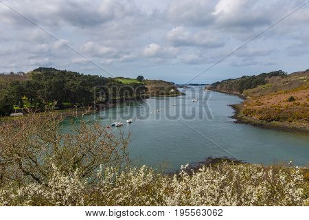 Boats anchored in the river Aber Wrac'h in Brittany France