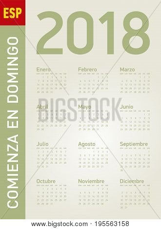 Simple Calendar For Year 2018, In Vectors. In Spanish. Week Starts On Sunday.