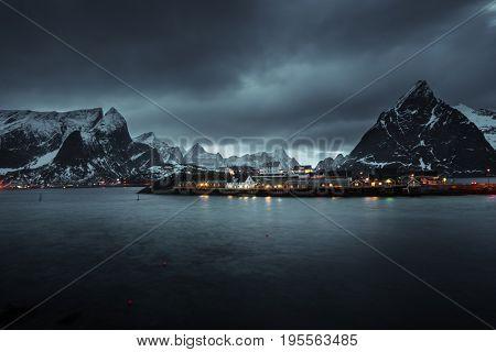 Sakrisoy village at sunset time, Lofoten islands, Norway