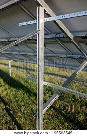 Close up view on frames for solar panels. Construction on helical piles for photovoltaic panels.
