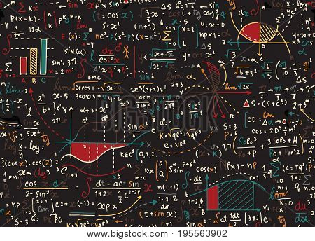 Math education vector pattern with handwritten formulas tasks plots calculations and geometrical figures.seamless background doodle vector.