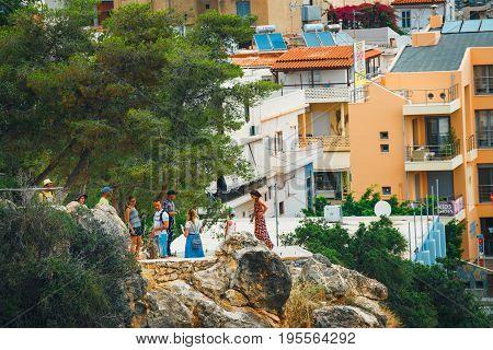 Agios Nikolaos, Crete, Greece - June 07, 2017: Agios Nikolaos Town At Summer Evening. Agios Nikolaos