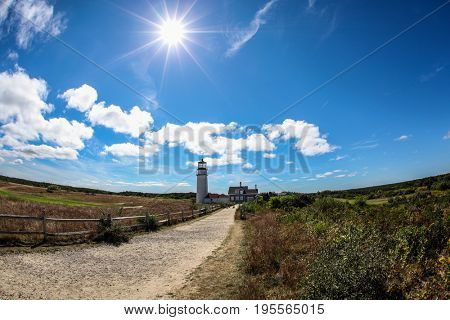 TRURO-SEPTEMBER 14: Truro lighthouse architecture with sun in Cape Cod , Massachusetts, USA on September  14, 2014.