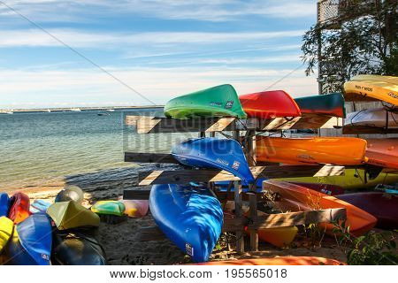 PROVINCETOWN - SEPTEMBER 14: Sea kayaks with ocean view and blue sky in Provincetown , USA on September 14, 2014