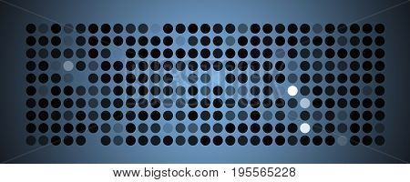 Abstract powerful dot panorama background pattern in blue and black