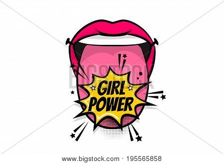 Pop art woman show tongue smile lips girl power, wow. Comics book balloon. Bubble speech phrase. Cartoon girl lipstick font label tag expression. Comic text sound effects. Vector illustration.