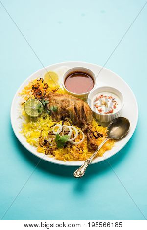 Hyderabadi Biryani is most well-known Non-Vegetarian culinary delights from the famous Hyderabad Cuisine. A traditional Indian dish made using Basmati rice, chicken meat & various other exotic spices.