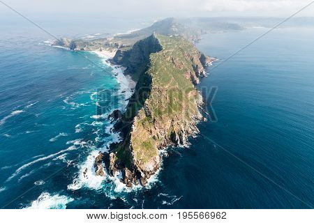 Cape Point (South Africa) aerial view shot from a helicopter