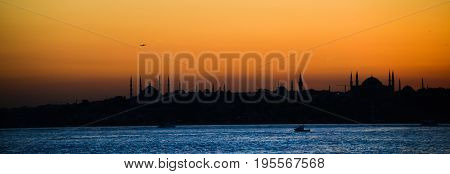 istanbul city silhouette at sunset - istanbul, Turkey