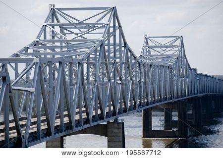 Interstate Highway 20 bridge at Vickburg, Mississippi spanning the Mississippi River.