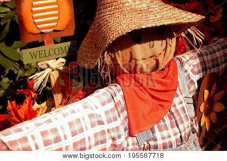 Scarecrow wearing faded shirt orange bandana and straw hat to shade eyes