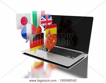 3D Laptop With Bubble Speech Flags.