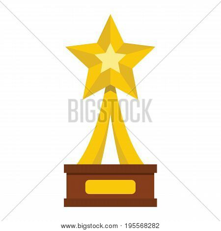 Winner trophy award gold star on the stand cartoon flat icon element for sport award trophy design vector illustration