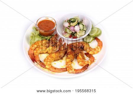 Charcoal Boiled ,prawn Satay Served With Side Disk.