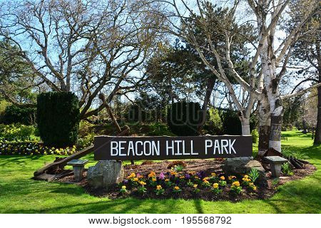Beacon hill park entrance sign in Victoria BC.Beacon hill is Victorias best public park.