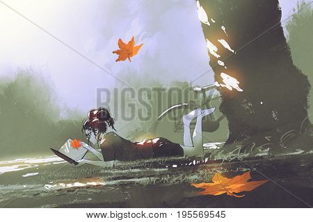 autumn is coming concept young girl laying on grass reading a book in park with maple leaves falling, digital art style, illustration painting