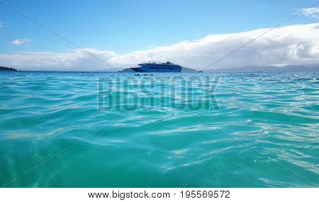 Scene Of Cruise Ship From The Water, Papua New Guinea.