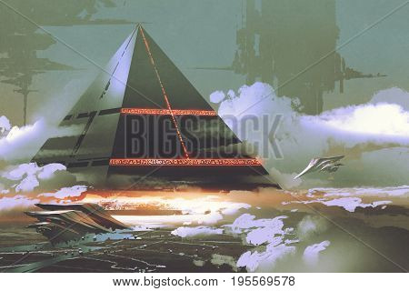 sci-fi scene of futuristic black pyramid floating over earth surface, digital art style, illustration painting