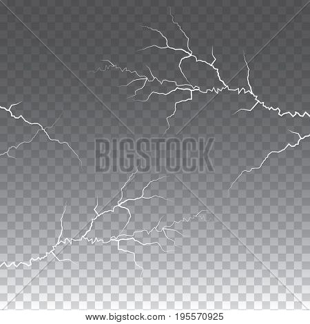 lightening and thunder bolt or electric, glow and sparkle effect on   transparent  background