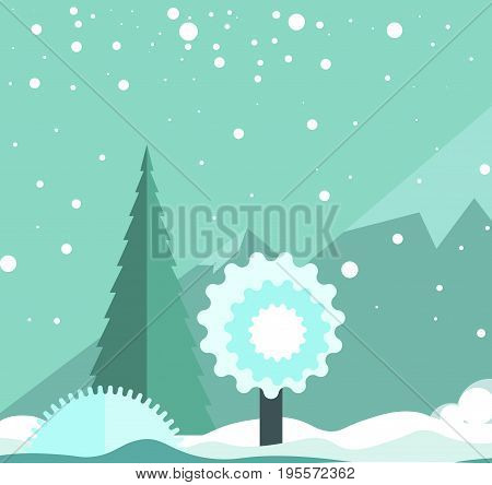 Winter landscape with snowfall that consists of big snowflakes, high mountains, frozen tree, evergreen spruce and white snow drifts vector illustration. Spectacular view of nature in cold season.