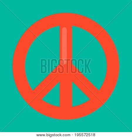 Peace sign in red color isolated on green background. Vector colorful illustration in graphic design of closeup round symbol with long and short lines. Pacifist mark presenting hippie culture