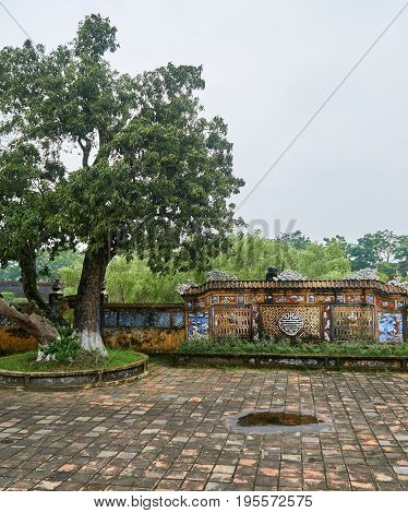 Square or plaza in Hue, Vietnam, on a foggy day