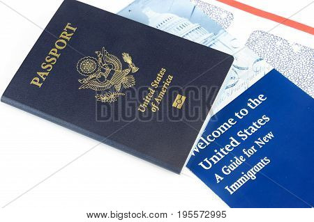 USA passport and immigration welcome letter isolated on white background