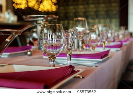Glass Wine Glasses On The Table Served For The Reception The Restaurant