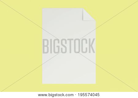 Blank White Flyer With A Curved Corner Mockup On Yellow Background
