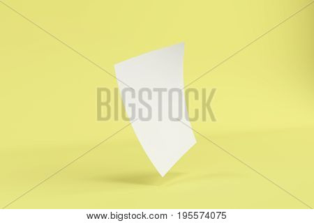 Blank White Bended Flyer Mockup On Yellow Background
