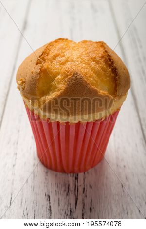 homemade cup cake on a wood background