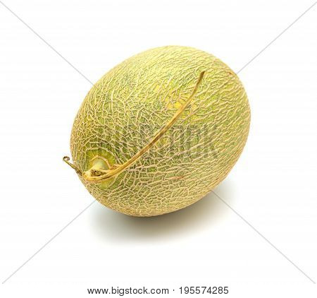 fresh green hami melon on a white background