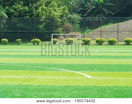 a goal of an outdoor soccer field
