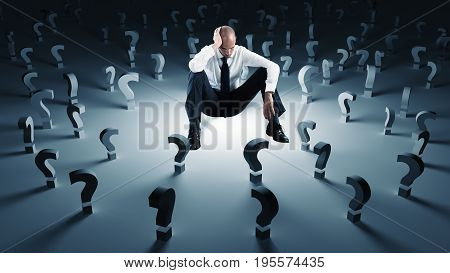 Worried businessman with many work questions unanswered. Concept of failure and problem