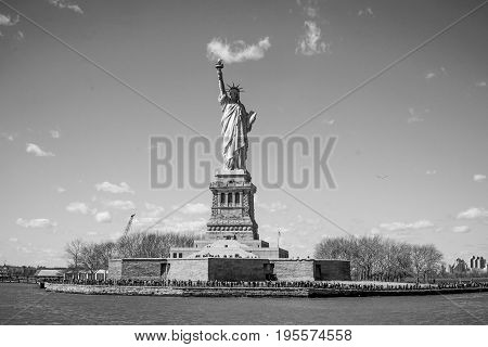 Liberty Island in New York with the famous Statue of Liberty- MANHATTAN - NEW YORK
