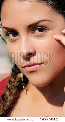Hispanic Young Girl Teen with Long Braided Hair