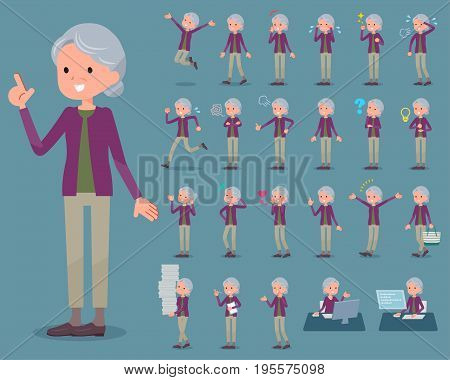 Flat Type Purple Clothes Grandmother_1