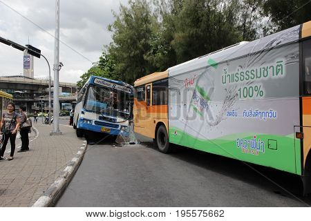 Bus No.8 Accident hit other bus at Victory monument Bangkok Thailand ; 11.50 am 15 Jul 2017