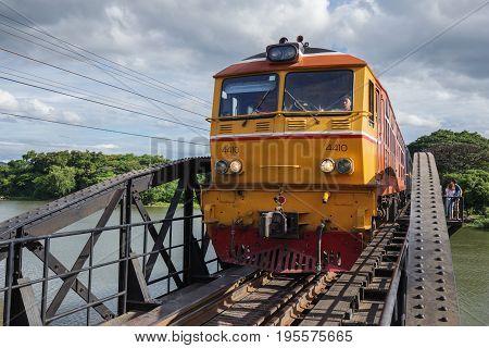 Train On The Bridge River Kwai In Kanchanaburi, Thailand