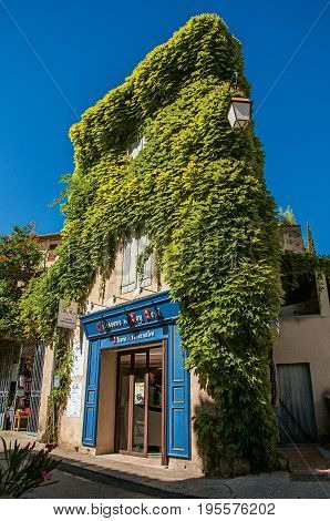 Lourmarin, France - July 07, 2016. Close-up of shop covered by a creeper, on a street in the lovely village of Lourmarin. Located in the Vaucluse department, Provence region, southeastern France