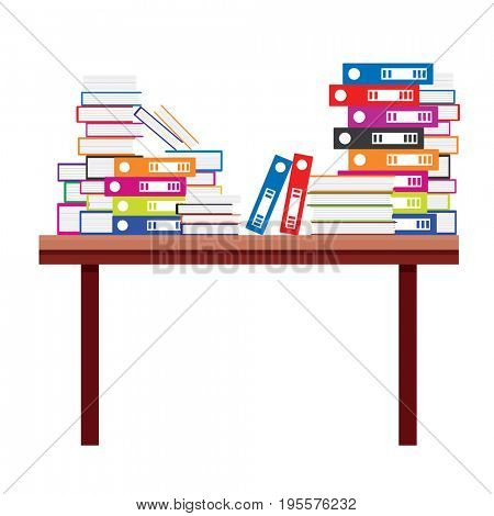 Pile of Books and Document File Folders on a Wooden Table.