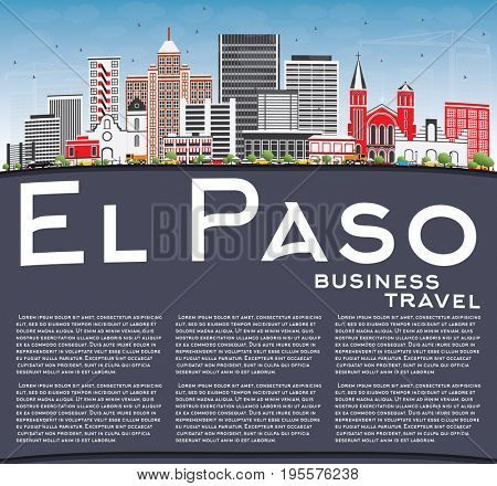 El Paso Skyline with Gray Buildings, Blue Sky and Copy Space. Business Travel and Tourism Concept with Modern Architecture. Image for Presentation Banner Placard and Web Site.