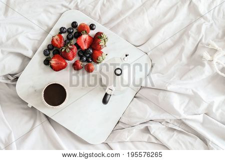 Morning. Delicious breakfast in bed