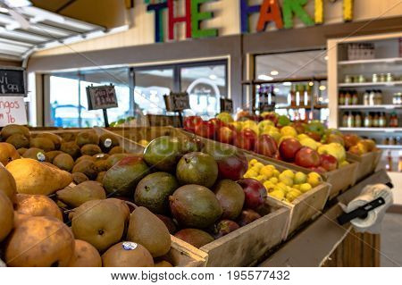 Clanton Alabama USA - June 17 2017: Fresh fruit on display at Durbin Farms Market a popular roadside produce market in Chilton County.
