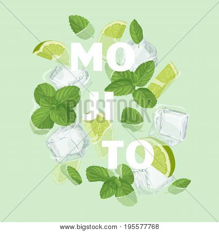 Mojito cocktail letter with mint, ice cube and lime. Summer sale vector label. Lemonade lettering illustration . Summertime poster. For t-shirt, fashion, prints, banner or packaging design
