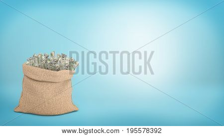 3d rendering of a large brown sack full of 100 dollar bills sticking from it on blue background. Money and wealth. Road to richness. Successful trading.