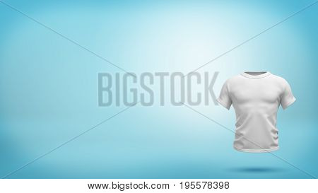 A white realistic T-shirt shape with muscular torso hovering on blue background. Build and human shape. Fashion and clothing industry. Sport and recreation.