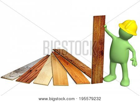 3d builder of green color with new parquet planks. Isolated on white background. 3d render