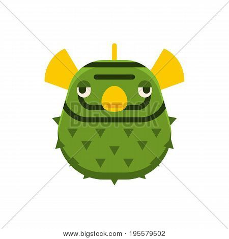 Aquatic blowfish vector icon. Fugu fish also know as balloonfish and plufferfish vector illustration.
